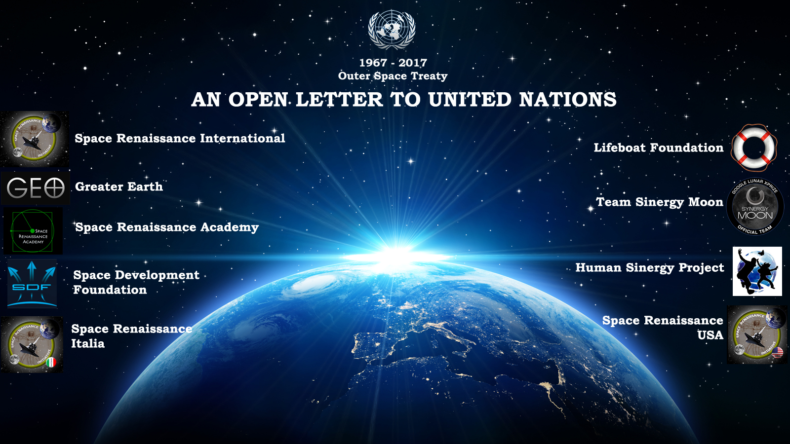 An Open Letter to United Nations, on 50th Anniversary of the Outer Space Treaty